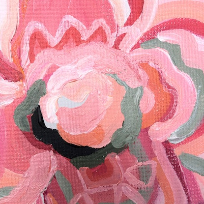 (CreativeWork) Union In Pink - Abstract Flowers - Mini painting 25x20cm by Jen Shewring. Acrylic Paint. Shop online at Bluethumb.