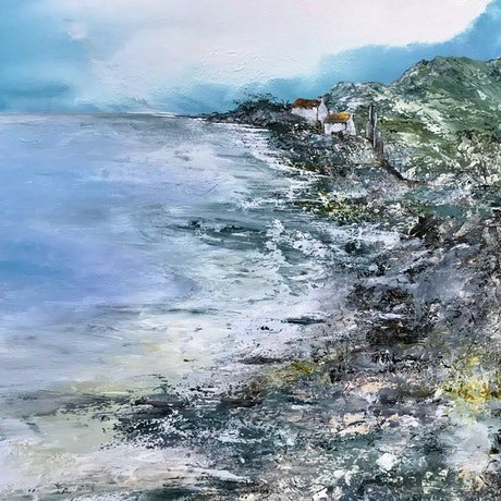 (CreativeWork) Rocked to Sleep by the Sea by Meg Lewer. Mixed Media. Shop online at Bluethumb.