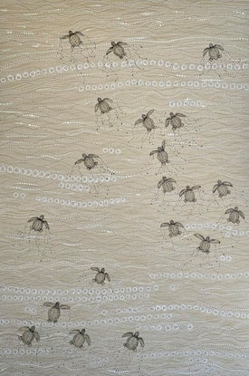 (CreativeWork) Sea Turtles  - Loggerhead Babies  - Fight For Life by Grace Brown. Mixed Media. Shop online at Bluethumb.