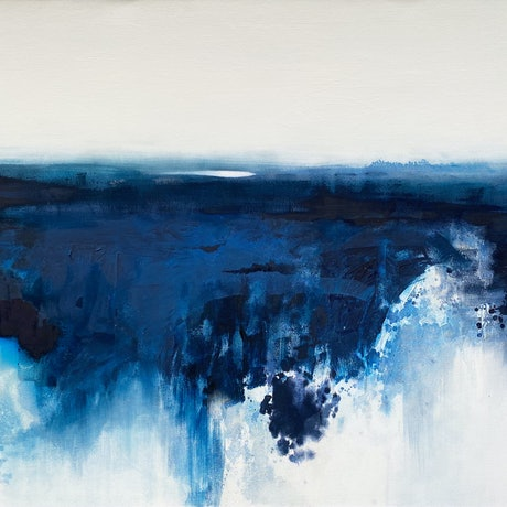 (CreativeWork) Above and Below Midnight Blue by Kathleen Rhee. Acrylic Paint. Shop online at Bluethumb.