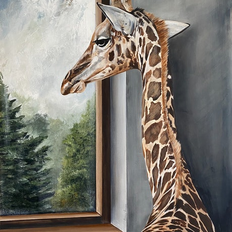 (CreativeWork) Girafternoon Light by Bonnie Larden. Acrylic Paint. Shop online at Bluethumb.