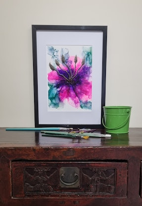 (CreativeWork) Hibiscus Harlequin by Sharyn Sims. Other Media. Shop online at Bluethumb.