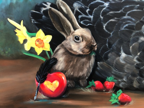 (CreativeWork) The Strawberry Thief - Original Oil swan and still-life in landscape surrealism by Mia Laing. Oil Paint. Shop online at Bluethumb.