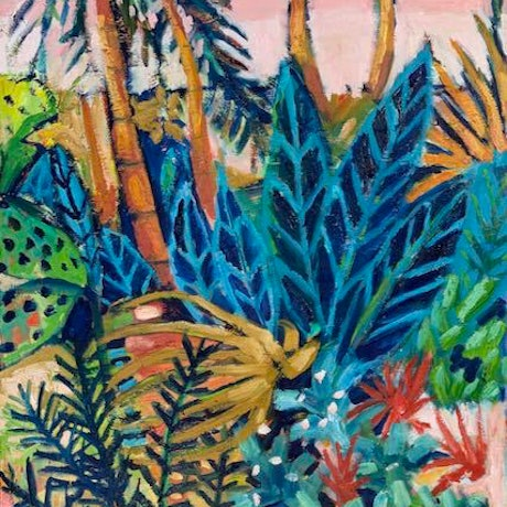 (CreativeWork) Tropical Garden by Wendy Bache. Oil. Shop online at Bluethumb.