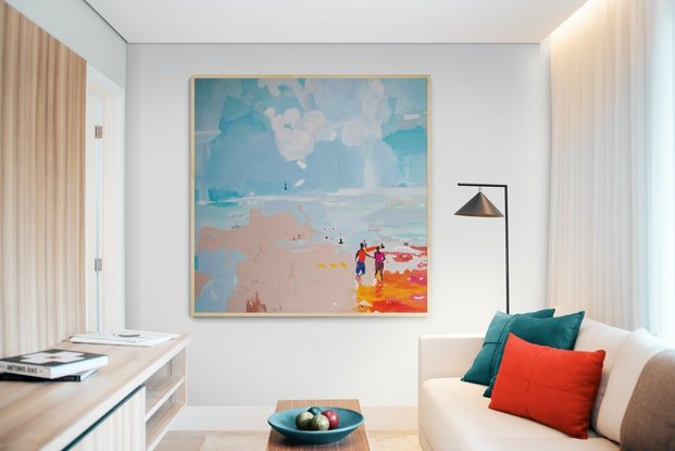 (CreativeWork) Beach Day (Includes Framing) by Tulika Das. Acrylic Paint. Shop online at Bluethumb.