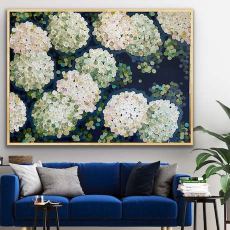 (CreativeWork) White night hydrangea 126x96 framed large textured abstract by Sophie Lawrence. Acrylic Paint. Shop online at Bluethumb.