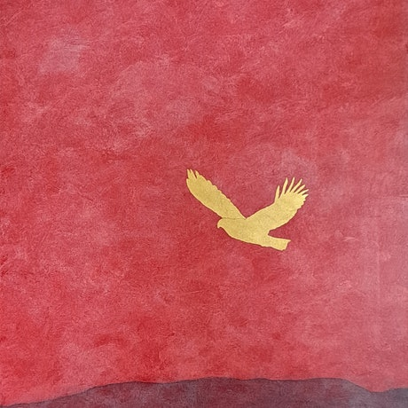 (CreativeWork) Golden Eagle And Red Sky by Barry Johnson. Mixed Media. Shop online at Bluethumb.