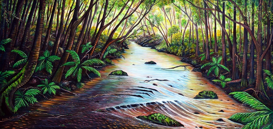 (CreativeWork) Blue Mountains Creek  by Linda Callaghan. Acrylic Paint. Shop online at Bluethumb.