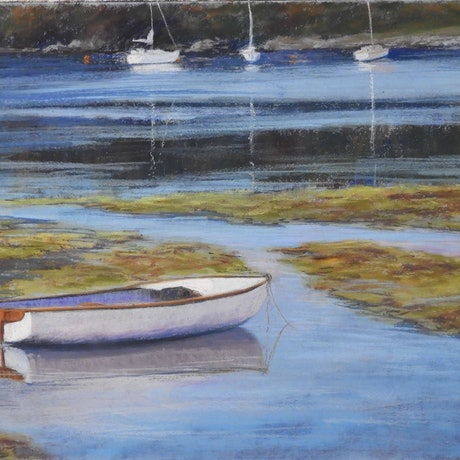 (CreativeWork) The White Boat - Seascape by Lindy Whitton. Drawings. Shop online at Bluethumb.