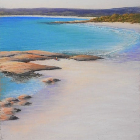 (CreativeWork) Cosy Corner - Bay of Fires     Seascape  by Lindy Whitton. Drawings. Shop online at Bluethumb.