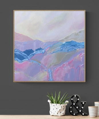 (CreativeWork) PASTEL HILLS  - SOFT PALETTE  by Belinda Stone. Acrylic Paint. Shop online at Bluethumb.