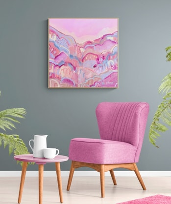 (CreativeWork) SUNSHINE HILLS  - COLOURFUL ABSTRACT  by Belinda Stone. Acrylic Paint. Shop online at Bluethumb.