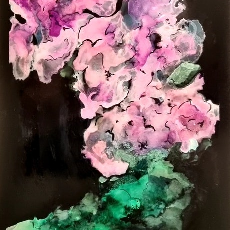 (CreativeWork) Midnight Hydrangea  by Sharyn Sims. Other Media. Shop online at Bluethumb.