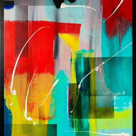 (CreativeWork) ABSTRACTION WITH RED by Rick Smith. Acrylic Paint. Shop online at Bluethumb.