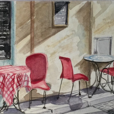 A watercolour sketch of an iconic french cafe in Arles