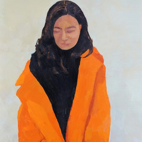 (CreativeWork) Orange coat  by Amanda Cutlack. Oil Paint. Shop online at Bluethumb.