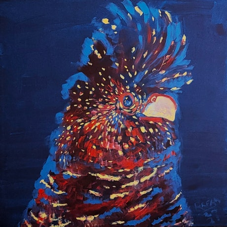 (CreativeWork) Cockatoo by Rebecca Read. Acrylic Paint. Shop online at Bluethumb.