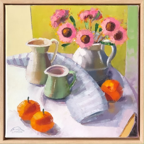 (CreativeWork) Still life with three mandarines (43 cm framed) by kirsty mcintyre. Oil Paint. Shop online at Bluethumb.