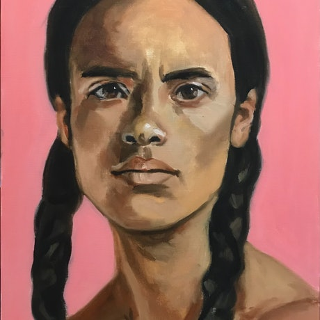 (CreativeWork) Man with pink background by Marc Bergmann. Oil. Shop online at Bluethumb.