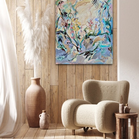 (CreativeWork) The Secret Garden (Abstract Botanical) by Sue Woolnough. Acrylic Paint. Shop online at Bluethumb.