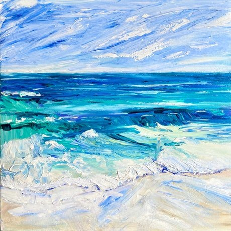(CreativeWork) The Ocean is Vast, My Son  - Original - Impressionist Beach Series by Pip Phelps. Acrylic Paint. Shop online at Bluethumb.