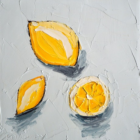 (CreativeWork) For the love of Lemons No.2 by Michelle Keighley. Oil Paint. Shop online at Bluethumb.