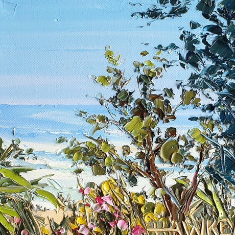 (CreativeWork) Beach Hideaway  by Angela Hawkey. Oil Paint. Shop online at Bluethumb.