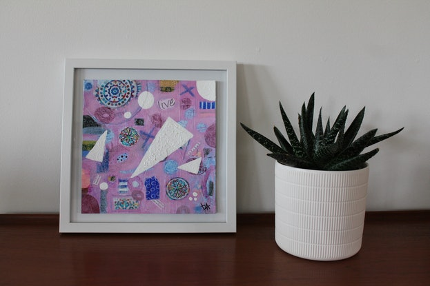 (CreativeWork) Living Through The Turmoil by Leanne Dunne. Mixed Media. Shop online at Bluethumb.