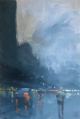 (CreativeWork) Rain Walk - Painted at the Clarice Beckett exhibition by Mike Barr. Acrylic Paint. Shop online at Bluethumb.