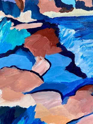 (CreativeWork) The Bluff by Sue Woolnough. Acrylic Paint. Shop online at Bluethumb.