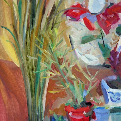 (CreativeWork) Wild reeds for birthday by Liza Merkalova. Oil Paint. Shop online at Bluethumb.