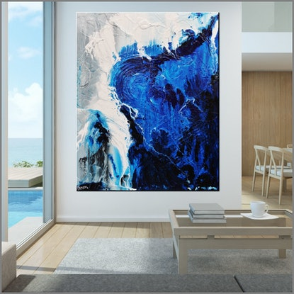 (CreativeWork) Blue Blues 120cm x 150cm Grey Blue Abstract Textured Acrylic Gloss Finish FRANKO by _Franko _. Acrylic Paint. Shop online at Bluethumb.