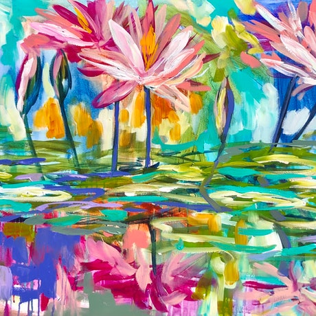 (CreativeWork) Monet's waterlily by Amanda Brooks. Acrylic Paint. Shop online at Bluethumb.