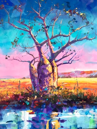 (CreativeWork) Boab Trees 32 by Jos Coufreur. Acrylic Paint. Shop online at Bluethumb.
