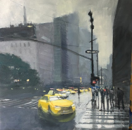 (CreativeWork) New York, New York - west 32nd by Mike Barr. Oil Paint. Shop online at Bluethumb.
