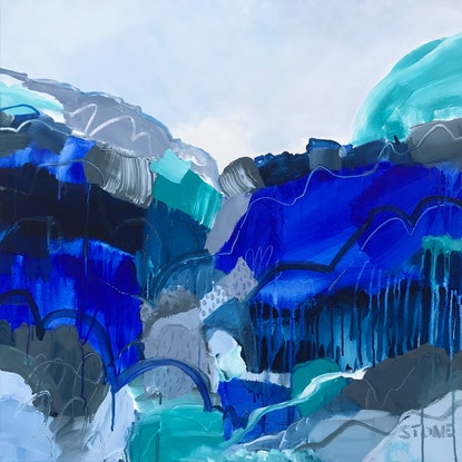 (CreativeWork) BLUE FALLS  - ABSTRACT LANDSCAPE  by Belinda Stone. Acrylic Paint. Shop online at Bluethumb.