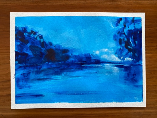 (CreativeWork) Light in the East  by Kate Gradwell. Acrylic Paint. Shop online at Bluethumb.