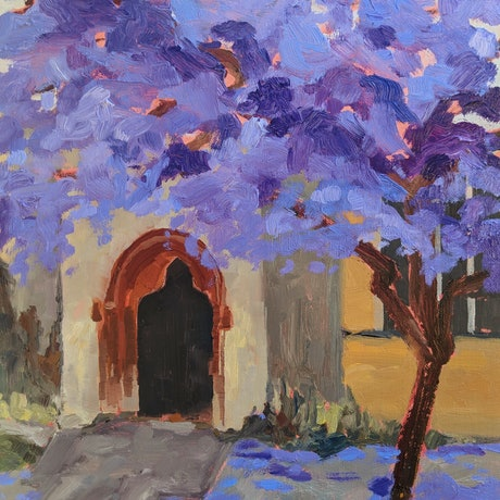 (CreativeWork) Jacaranda IX by Amanda Cutlack. Oil Paint. Shop online at Bluethumb.