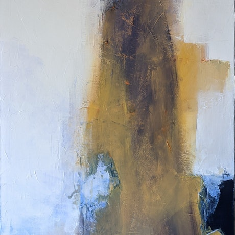 (CreativeWork) Grey Figure In Giallo di Napoli by Davide DiCenso. Acrylic Paint. Shop online at Bluethumb.