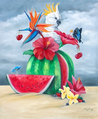 (CreativeWork) Gone Troppo - oilpainting cockatoo on watermelon  by Mia Laing. Oil Paint. Shop online at Bluethumb.