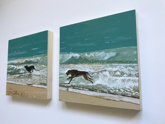 (CreativeWork) Having the Best Time (diptych) by Jane Grierson. Acrylic Paint. Shop online at Bluethumb.