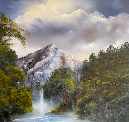 (CreativeWork) The Falls 3 by Elaine Green. Oil Paint. Shop online at Bluethumb.