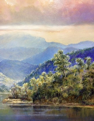 (CreativeWork) Tweed river looking West. (border NSW and QLD Australia)  by Jos Kivits. Oil Paint. Shop online at Bluethumb.