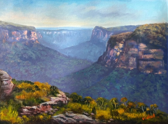 (CreativeWork) Early morning at Butterbox point, Mt Hay by Christopher Vidal. Oil. Shop online at Bluethumb.
