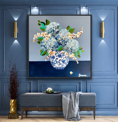 (CreativeWork) Hydrangeas orchids in  ginger jar. 106x106 framed choice of color /large textured abstract by Sophie Lawrence. Acrylic Paint. Shop online at Bluethumb.