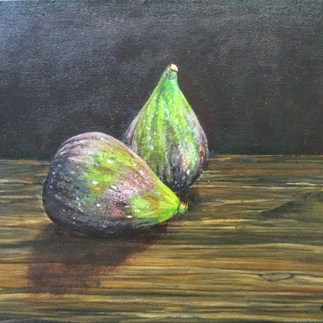 (CreativeWork) Two figs by Yvette Colton. Acrylic Paint. Shop online at Bluethumb.