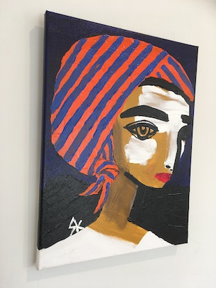 (CreativeWork) Sanguine Sienna at the Friday Night Fiesta.  by Kate Rogers. Acrylic Paint. Shop online at Bluethumb.