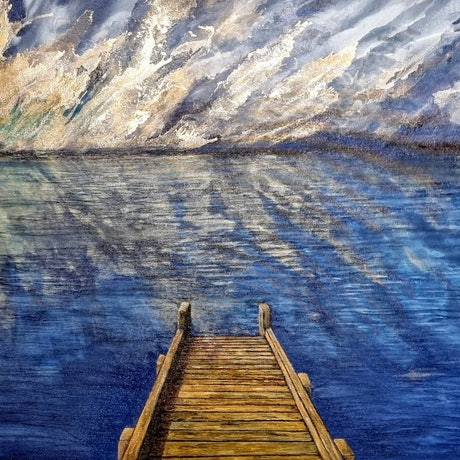 (CreativeWork) On Golden Jetty by Sharyn Sims. Other Media. Shop online at Bluethumb.