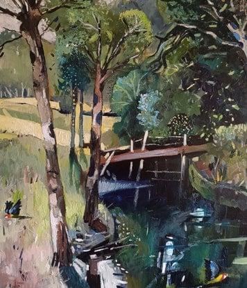 (CreativeWork) Landscape  - Running Stream by Susan Trudinger. Acrylic Paint. Shop online at Bluethumb.