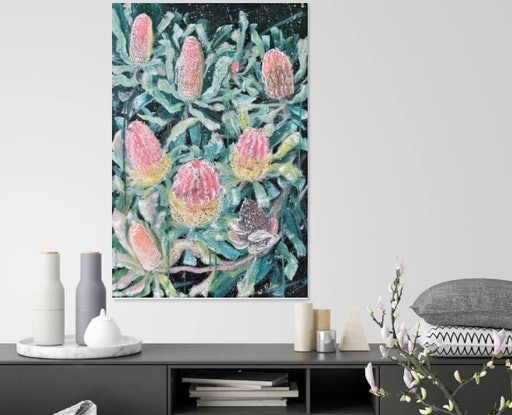 (CreativeWork) Let's Make A Wish - Banksia Menziesii (Menzies Banksia) by HSIN LIN. Acrylic Paint. Shop online at Bluethumb.